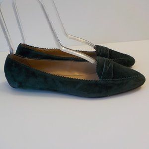 Talbots Flats Shoes 8M Green Suede Leather